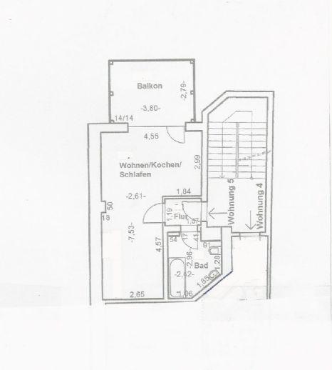1-Zimmer-Wohnung mit großem Balkon und Einbauküche