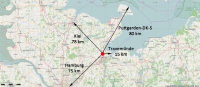 Entfernungen zu den Häfen