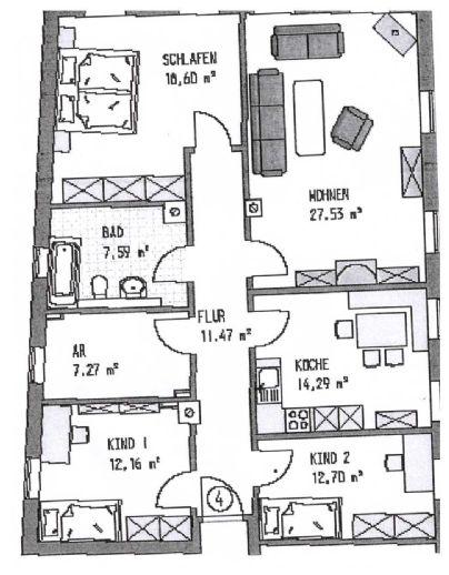 Sofort verfügbar Gepflegte 4 Zimmer