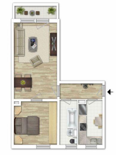 Helle ruhige 2-Raum-Wohnung im EG in Lohmen bei Pirna mit Südbalkon - nur 20 min bis Dresden