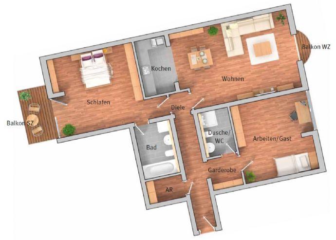 3-Zimmer-Wohnung mit Balkon - möbliert / 3-Room apartment with furniture