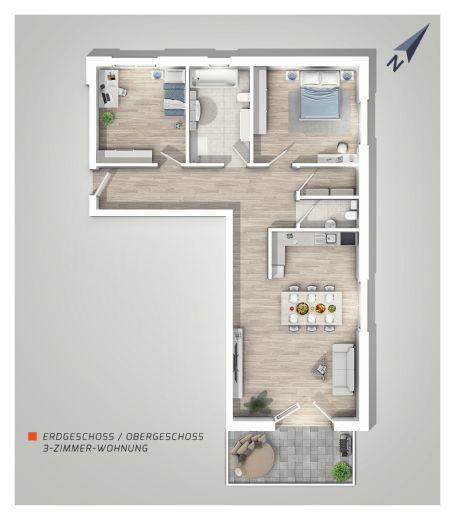 |L|I|V|I|N|G| - IN EBHAUSEN, Freundlich & modern! 3-Zimmer-Wohnung