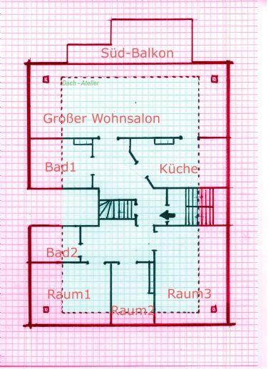 Schnitt der Wohnung (kein Maßstab)