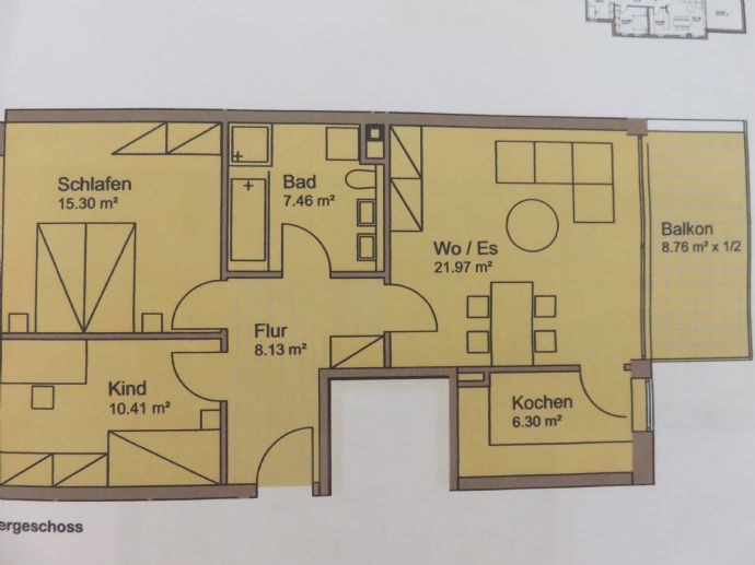 3-Zimmer-Wohnung mit 73 m² Wfl.