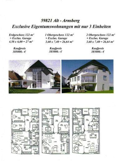 Alt Arnsberg Neubau von 3 exclusiven Eigentumswohnungen mit 3 exclusiven Garagen + Aufzug und barrierefrei.