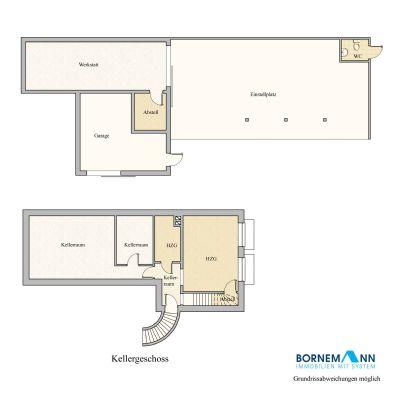 Grundriss Kellergeschoss, Carportanlage und Garage