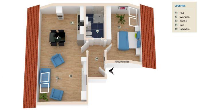 Stadtnahe 2-Raum-Dachgeschoss-Wohnung