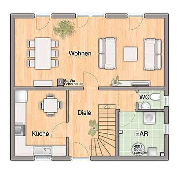 EG-Variante mit 3 Räumen