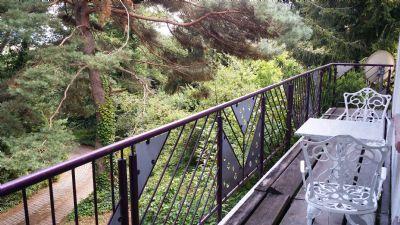 Blick vom Balkon auf die Auffahrt