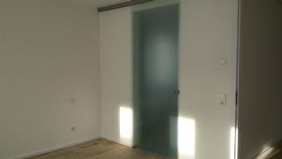 Glasschiebe-Elemente/Zugang vom Schlafraum ins Bad