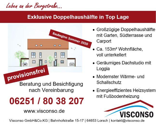 *PROVISIONSFREI* Bickenbach - Neubau einer exklusiven, modernen Doppelhaushälfte mit Garten und Dachterrasse in Feldrandlage