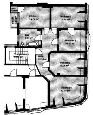 3 4 zimmer eigentumswohnung r ckw rtig mit balkon hb. Black Bedroom Furniture Sets. Home Design Ideas