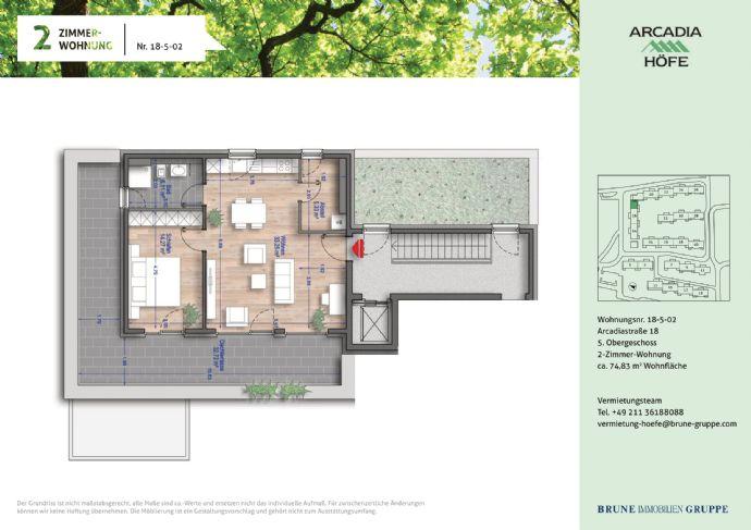 2 Zimmer Penthouse mit Panorama-Dachterrasse und Fußbodenheizung (barrierefrei) in den Arcadia Höf