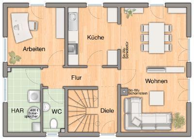 Grundrissmöglichkeit vom EG mit 4 Zimmern
