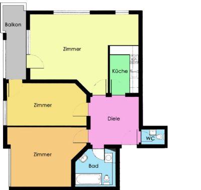 3-Raumwohnung mit Einbauküche im Dachgeschoss