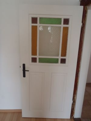 Tür mit alten Glaseinsatz