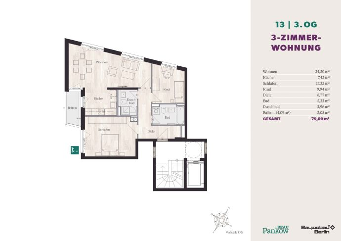 Beau Pankow - schöne 3-Zimmerwohnung mit Balkon