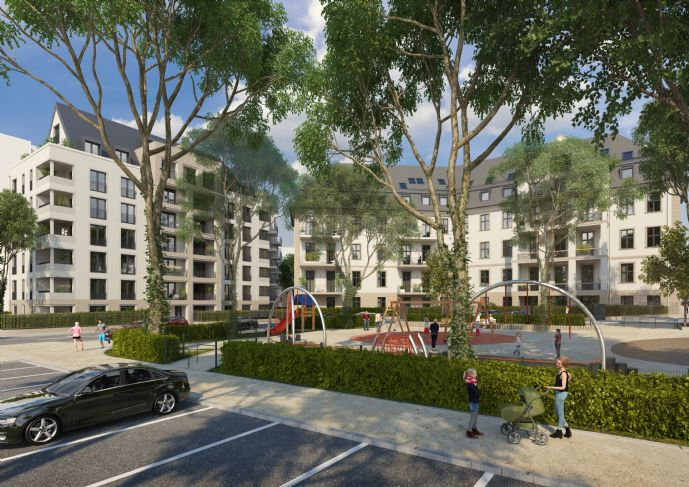 3 Zimmer Gartenwohnung mit 2,85 m² lichter Raumhöhe und viel Grün für Sonnenanbeter.