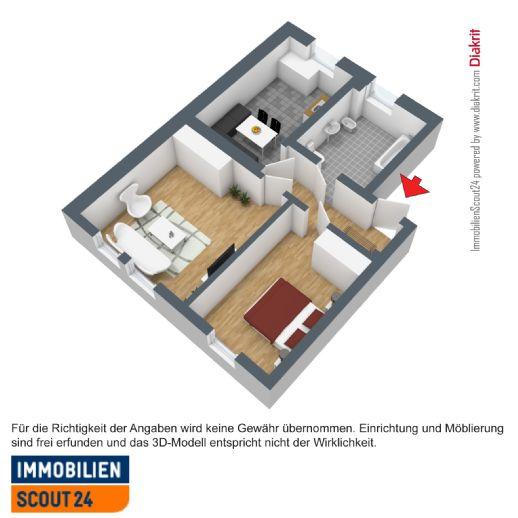 Helle 2-Zimmer-Wohnung mit idealem Grundriss und großer Küche
