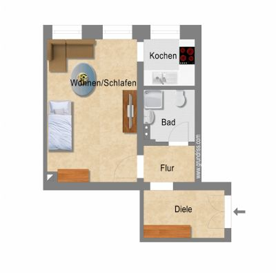 Klein & Fein: frisch sanierte 1-Zimmer-Wohnung mit Einbsuküche in der Südvorstadt!