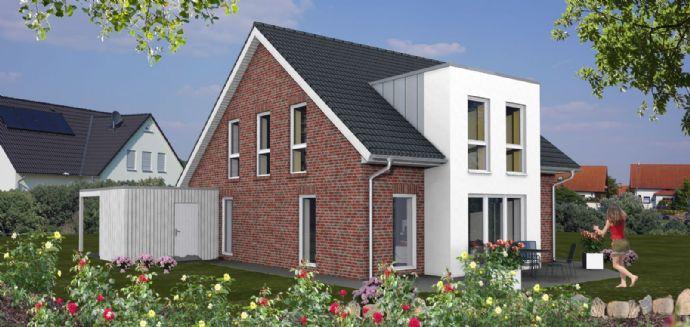 Neubau eines attraktiven KFW 55 - Hauses mit Keller in zentraler ruhiger Ortslage von Nordwalde Nähe Münster - rundherum Gärten und sehr viel Grün !